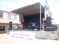 SL100 mobile stage set up in Clarksville TN, by the court house